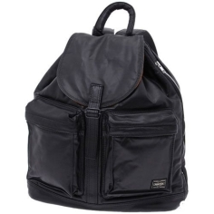 PORTER TANKER LEATHER – RUCKSACK BLACK