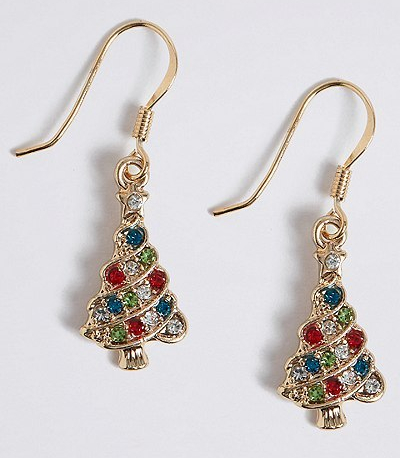 M&S xmas tree earrings