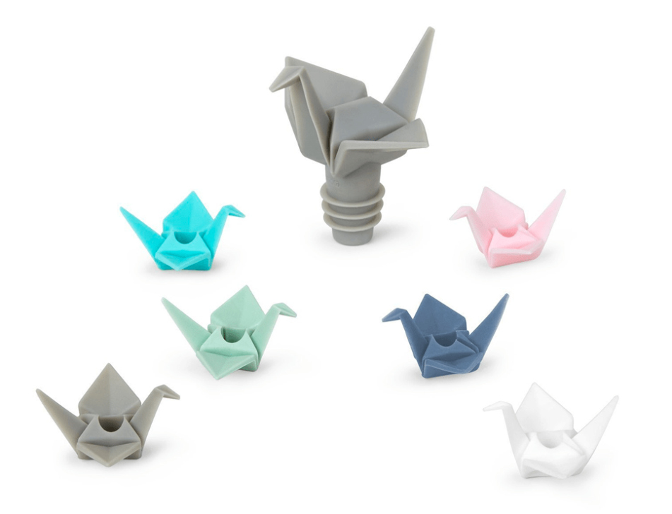 origami wine charm and topper set