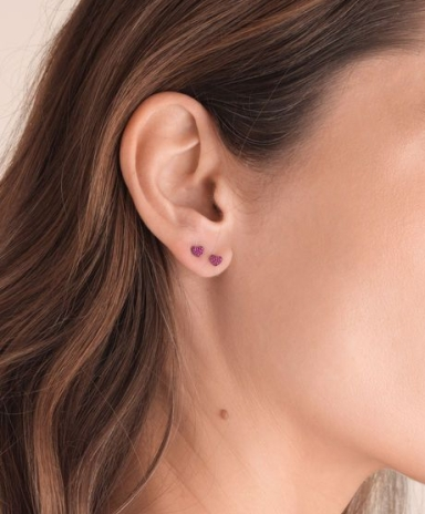 Love Diamonds 18ct White Gold Ruby Heart Stud Earrings (1)